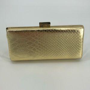 Aldo Gold Snakeskin Clutch Evening Bag
